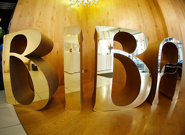 Polystyrene Biba Logo With Mirrored Gold Acrylic Faces