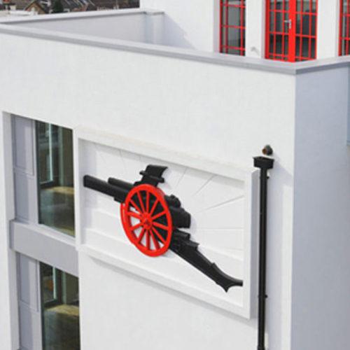 Polystyrene Arsenal Cannon On The Side Of The Highbury Stadium Apartments