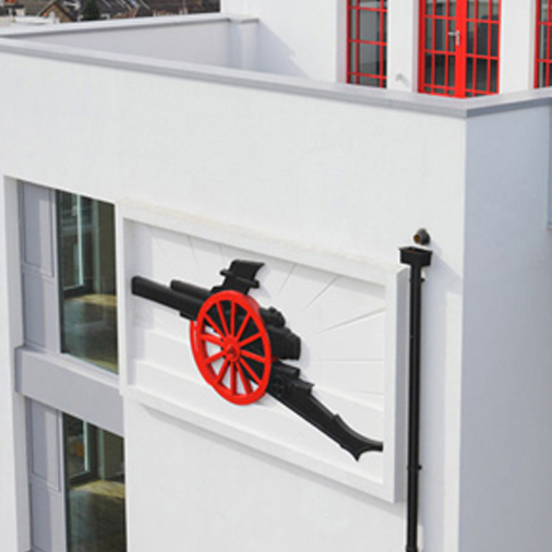 Polystyrene Arsenal Cannon On The Side Of The Highbury Stadium Apartments