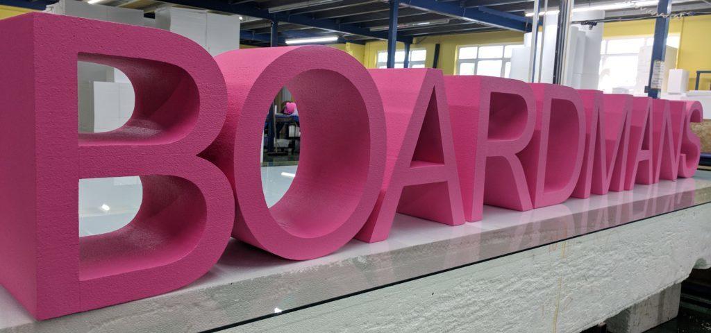 Painted Pink Polystyrene Boardmans Logo For Office Branding