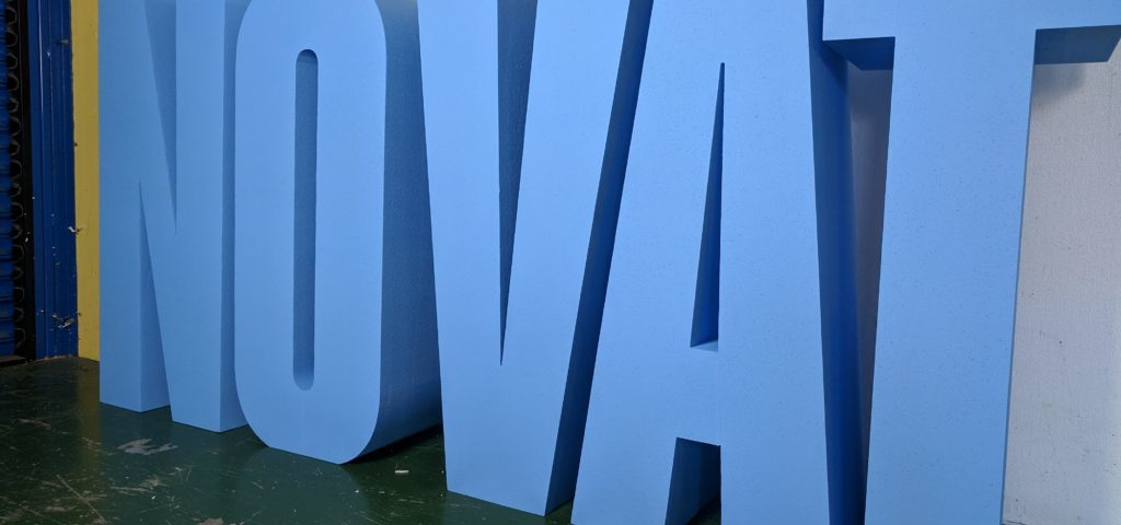 1.2m Tall No Vat Letters Painted Blue For An Exhibition
