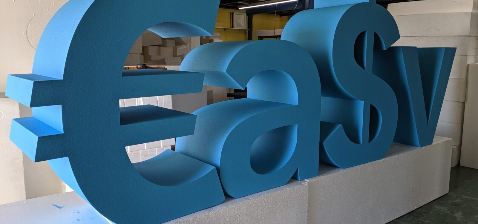 1.5m Tall Easy Polystyrene Letters Painted Blue