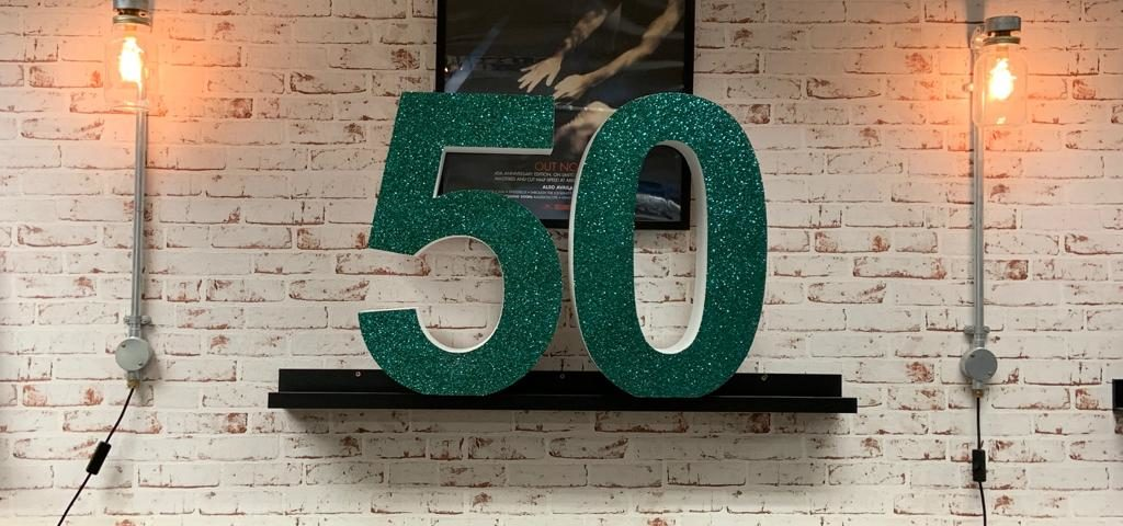 Decorative Polystyrene Number 50 With A Green Glittered Face