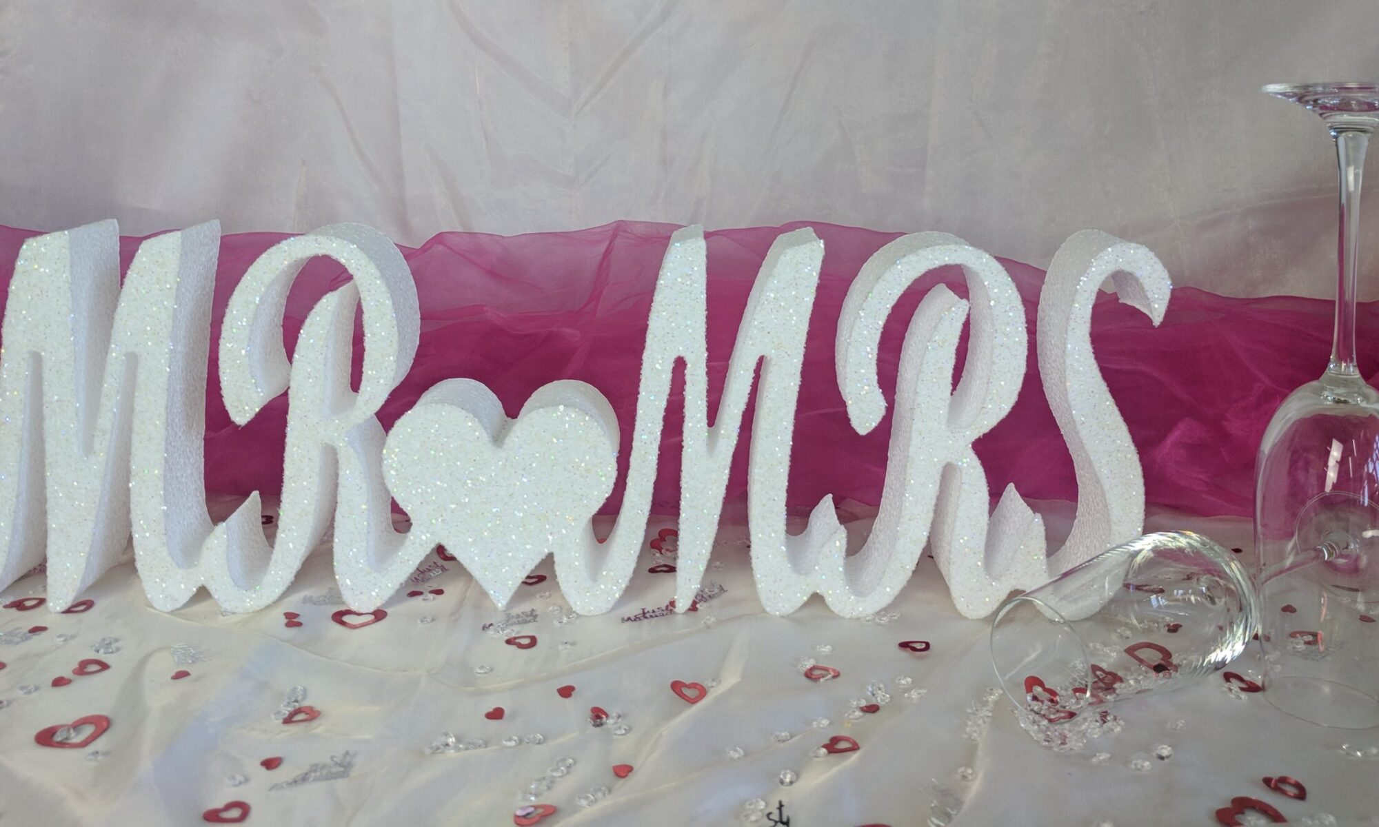 Glittered Polystyrene Mr and Mrs Sign