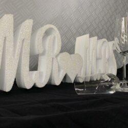 Glittered Polystyrene Mr and Mrs Sign