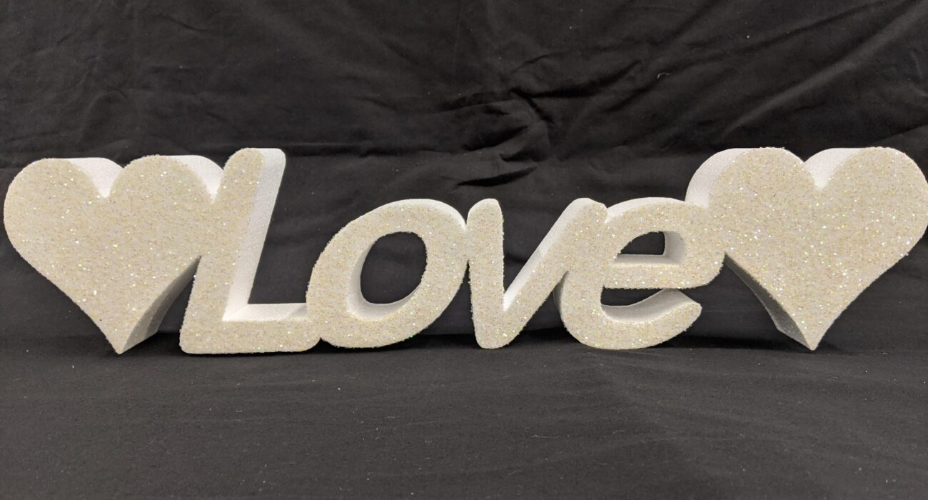 Polystyrene Glittered Love Freestanding Sign