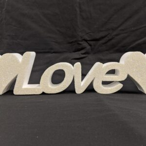 Polystyrene Glittered Love Freestanding Sign