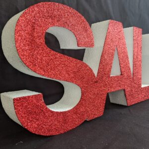 Glittered Red Polystyrene Sale Sign