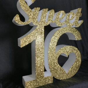 Polystyrene Glittered Sweet 16 Sign