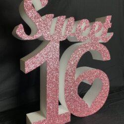 Polystyrene Glittered Sweet 16 Sign