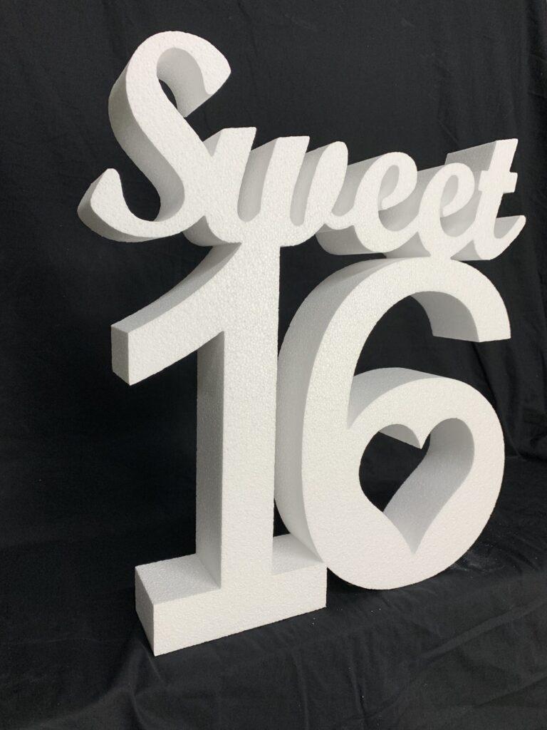 Plain Polystyrene Sweet 16 Sign